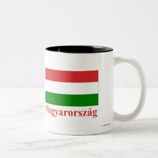 Hungary Flag with Name in Hungarian Two-Tone Coffee Mug