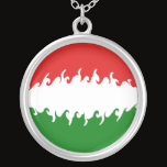 Hungary Gnarly Flag Silver Plated Necklace
