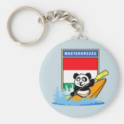 Basic Button Keychain with Hungary Kayaking Panda design
