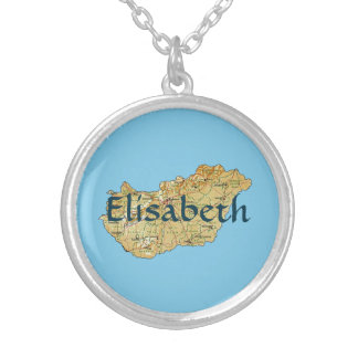 Hungary Map + Name Necklace