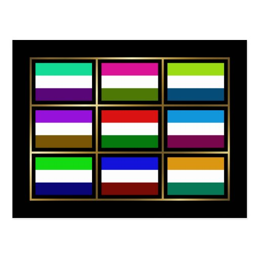 Hungary Multihue Flags Postcard
