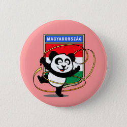 Round Button with Hungary Rhythmic Gymnastics Panda design
