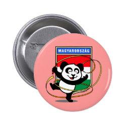 Round Button with Hungary Rhythmic Gymnastics Panda design