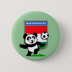 Hungary Football Panda Round Button