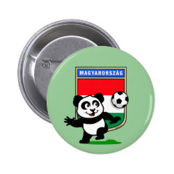 Round Button with Hungary Football Panda design