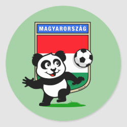 Round Sticker with Hungary Football Panda design