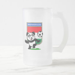Frosted Glass Mug with Hungary Football Panda design