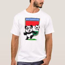 Men's Basic T-Shirt with Hungary Football Panda design