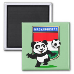 Square Magnet with Hungary Football Panda design