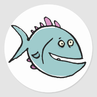 hungover fish classic round sticker