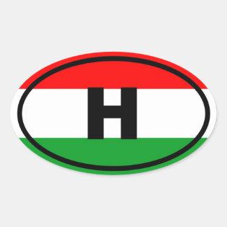 Hungría - H - europeo Pegatinas Oval Personalizadas