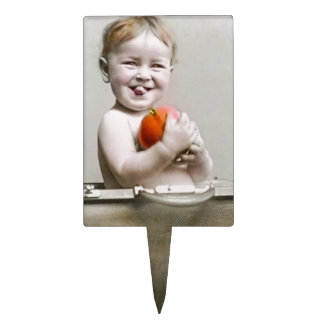 Hungry Baby Cute Little Peach in Handbag Vintage Cake Topper