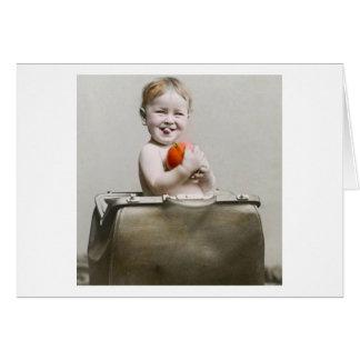 Hungry Baby Cute Little Peach in Handbag Vintage Card