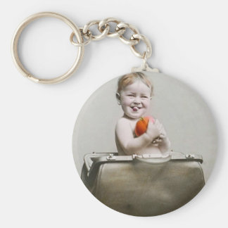 Hungry Baby Cute Little Peach in Handbag Vintage Keychain