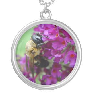 Hungry Bee Round Pendant Necklace
