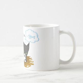 Hungry black cat coffee mug