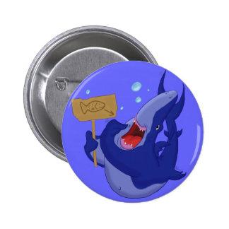 Hungry Blue Shark Button