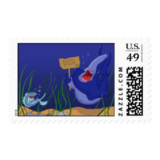Hungry Blue Shark/Laughing Fish Cartoon Postage Stamp