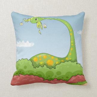 hungry brontosaurus dino dinosaur cartoon throw pillow