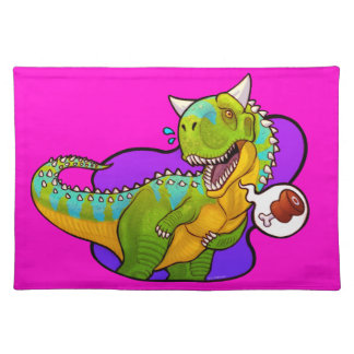 Hungry carnotaurus dinosaur cloth placemat