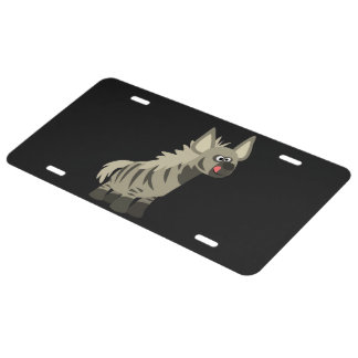 Hungry Cartoon Striped Hyena License Plate Cover