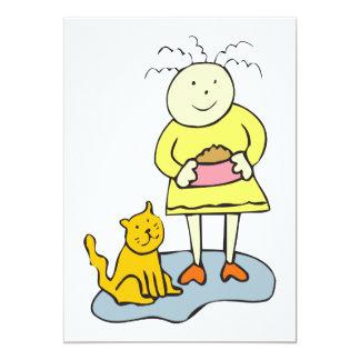 Hungry cat cartoon 5x7 paper invitation card