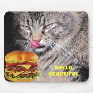 Hungry Cat Meets Beautiful Cheeseburger Mouse Pad