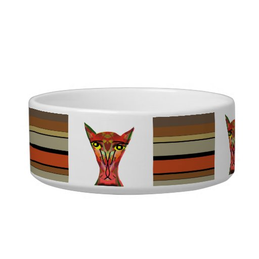 Hungry cat pet food bowls