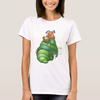 Hungry Caterpillar eating a fast food hamburger T-Shirt