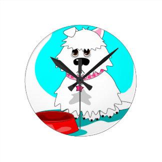Hungry dog & empty dish round wallclocks