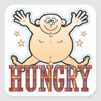 Hungry Fat Man Square Sticker