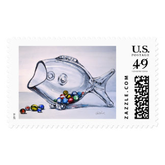 Hungry Fish Postage Stamp