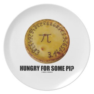 Hungry For Some Pi? (Pi On Baked Pie Humor) Plate