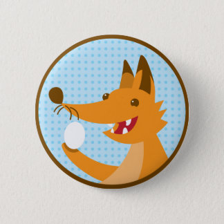 Hungry Foxy cute fox holding an egg Button