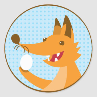 Hungry Foxy cute fox holding an egg Classic Round Sticker