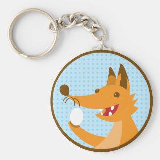 Hungry Foxy cute fox holding an egg Keychain