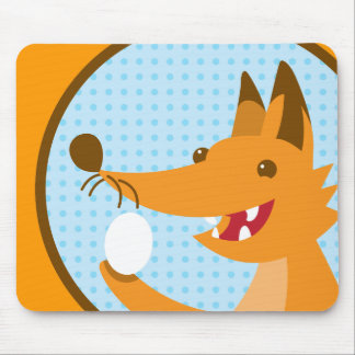 Hungry Foxy cute fox holding an egg Mousepad
