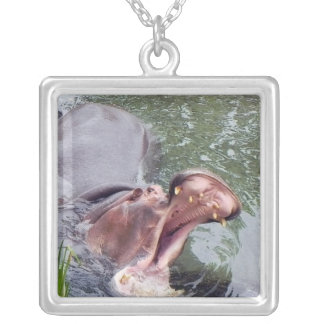 Hungry Hippo Mouth Photo Square Pendant Necklace