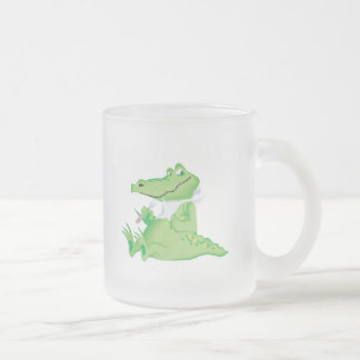 hungry hungry alligator frosted glass coffee mug