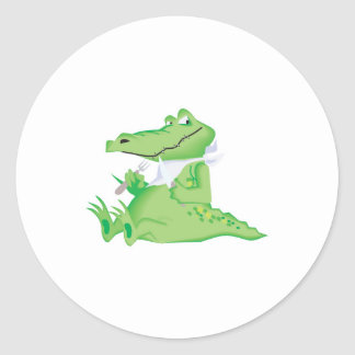 hungry hungry alligator round sticker