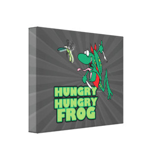 hungry hungry froggy frog animal cartoon stretched canvas prints