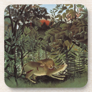 Hungry Lion by Henri Rousseau, Vintage Wild Animal Beverage Coaster