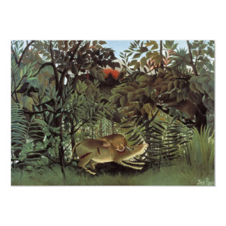 Hungry Lion by Henri Rousseau, Vintage Wild Animal Card