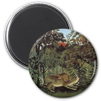 Hungry Lion by Henri Rousseau, Vintage Wild Animal Magnet