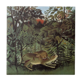 Hungry Lion by Henri Rousseau, Vintage Wild Animal Tile