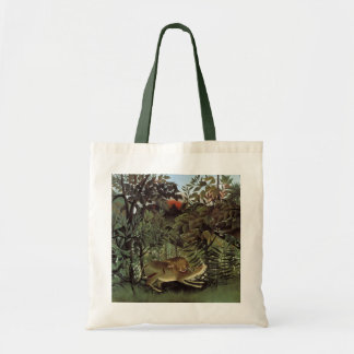 Hungry Lion by Henri Rousseau, Vintage Wild Animal Tote Bag
