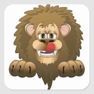 Hungry Lion Cartoon Square Sticker