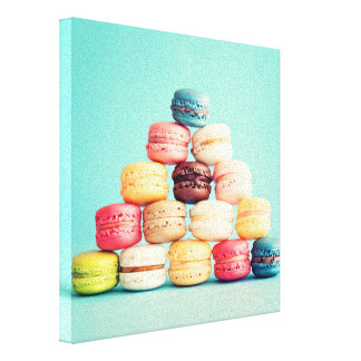 Hungry, Macaron, hipster,multicolor,sweets cookies Gallery Wrap Canvas