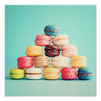 Hungry, Macaron, hipster,multicolor,sweets cookies Perfect Poster