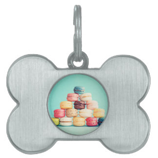 Hungry Macaron hipster,multicolor,sweets cookies Pet Name Tags